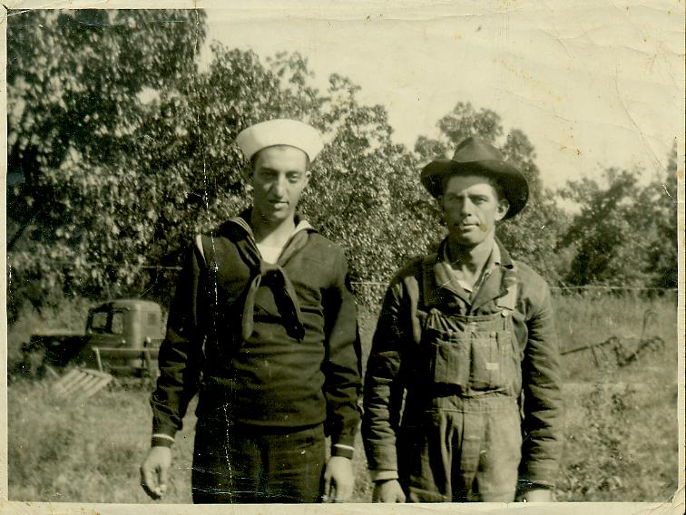 The War Years.  Johnie and a friend  named Marion (?) Trent.  Click for full sized view.