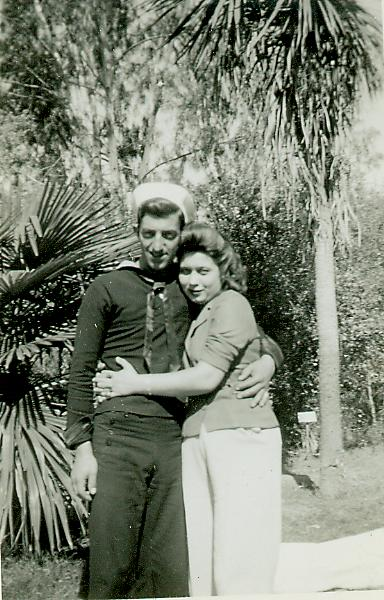 This is from an album with many pictures of Dena and Johnie, perhaps while Johnie was at basic training in San Diego in 1942.  Does anyone know who the lady is?  Click for full sized view.
