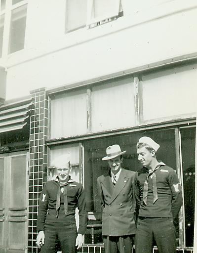 1942. Johnie, Dean and a friend.  Picture unlabeled.